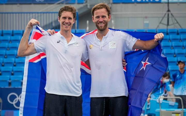New Zealand's Marcus Daniell (left) and Michael Venus after defeating Americans Krajicek / Sandgren to win the Bronze medal in the men's doubles at Ariake Tennis Park, Tokyo 2020 Olympic Games. Friday 30 July 2021.