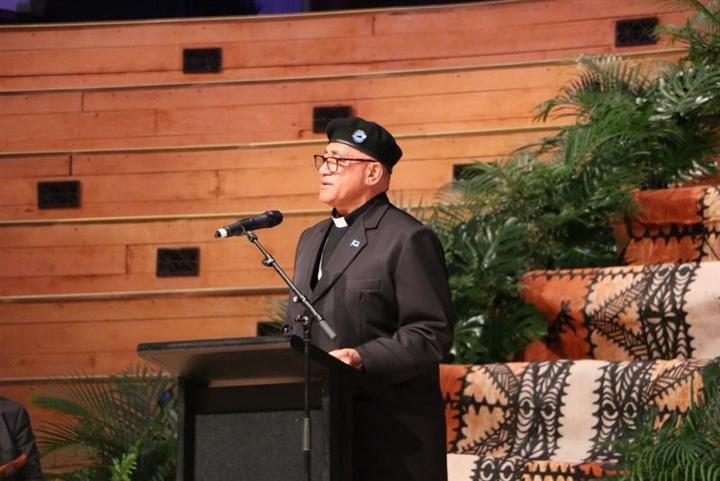 Reverend Alex Toleafoa of the Polynesian Panthers speaking at the the government's official apology for the Dawn Raids.