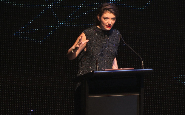 Ella YelichO'Connor (Lorde) accepts the Most Performed Work Award for the songs 'Team' (New Zealand) and 'Royals' (International) at the 2014 Silver Scroll Awards at TSB Arena