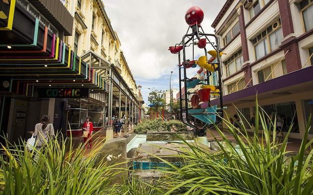 Cuba Mall on Cuba Street, including the street's iconic bucket fountain