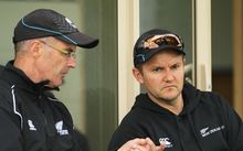 New Zealand Cricket's Bruce Edgar and Black Caps coach Mike Hesson.