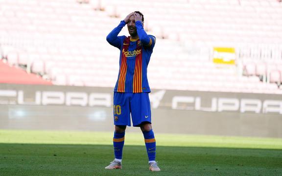La stella del Barcellona Lionel Messi al Camp Nou.