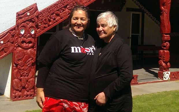 Marama Fox (L) and Tariana Turia ahead of the Maori Party co-leader election