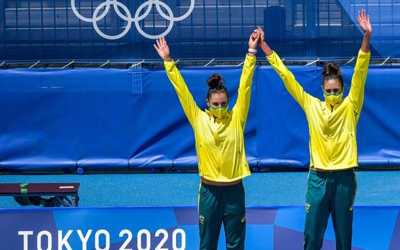 Mariafe Artacho del Solar y Taliqua Clancy.  Australia.  Partido por la medalla de oro femenina.  Voleibol de playa.
