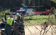 The motocross rider was airlifted to hospital.