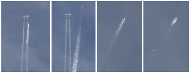 A combination of photos show SpaceShipTwo as it detaches from the jet that carried it aloft and then explodes.