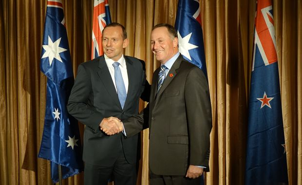 Australian prime minister Tony Abbott (left) and Prime Minister John Key meeting in Perth before WWI commemorations in Albany get underway on 1 November 2014.