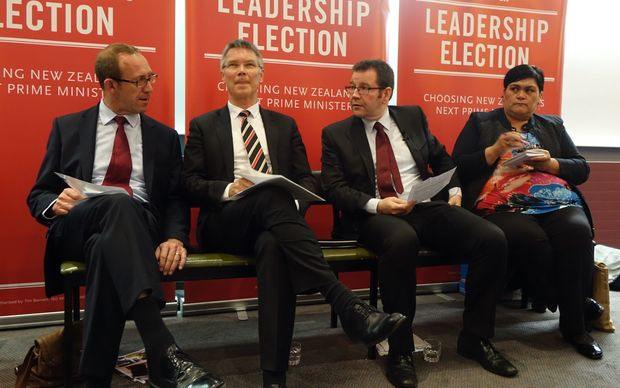 Andrew Little, David Parker, Grant Robertson and Nanaia Mahuta. Labour candidates at the hustings Dunedin on 30.10.2014.