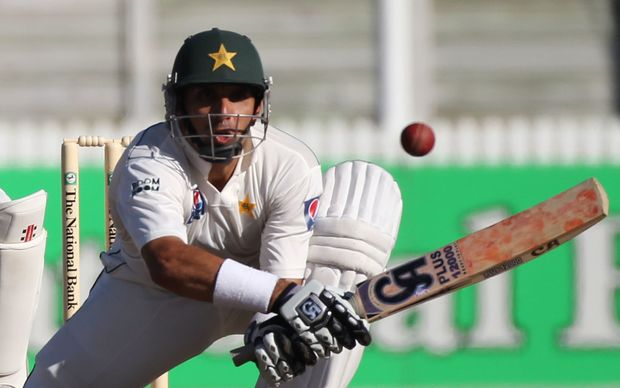 Pakistan's Misbah-ul-Haq batting.