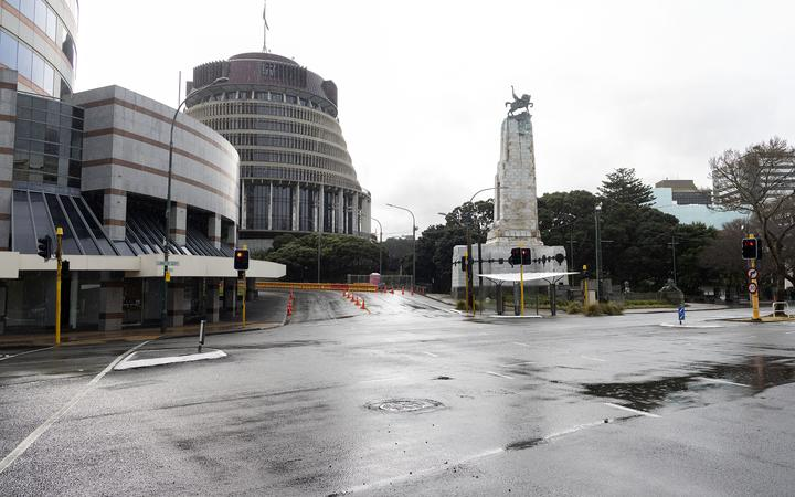 A deserted Central Wellington during the August 2021 lockdown.