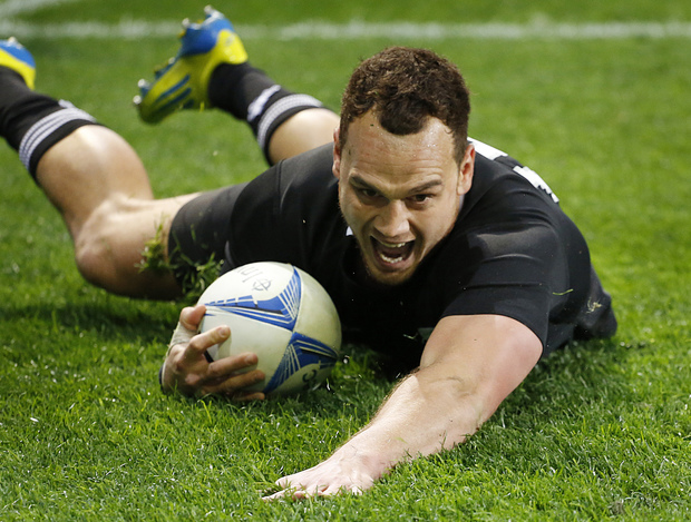 Israel Dagg scores a try against the Springboks during their Rugby Championship test match in Dunedin in 2012.