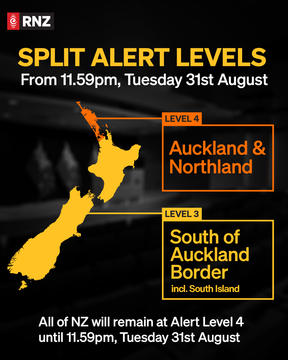 A map showing split alert levels when Auckland and Northland continue in level 4 from Tuesday.