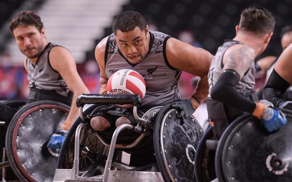 Barney Koneferenisi.Wheelchair rugby group match.Yoyogi National Stadium, Wednesday 25 August 2021. Tokyo 2020 Paralympics.