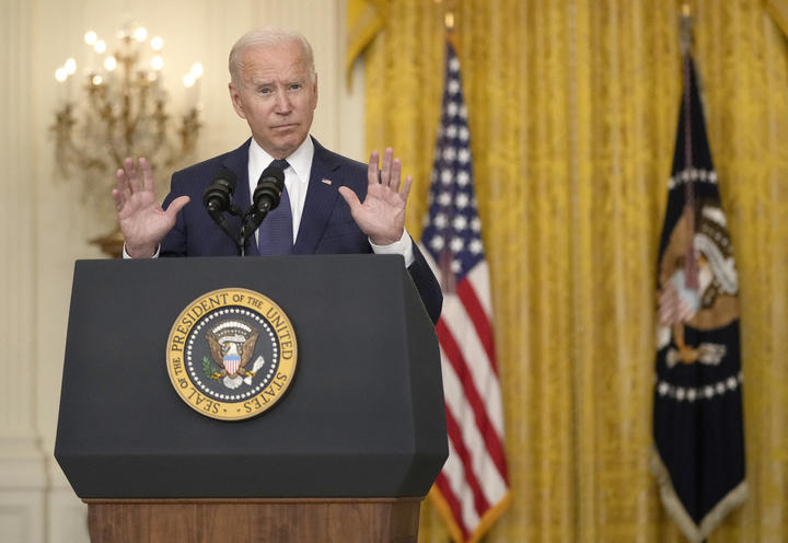 US President Joe Biden talks about the situation in Kabul, Afghanistan, from the east room of the White House.