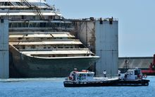 The refloated Costa Concordia.