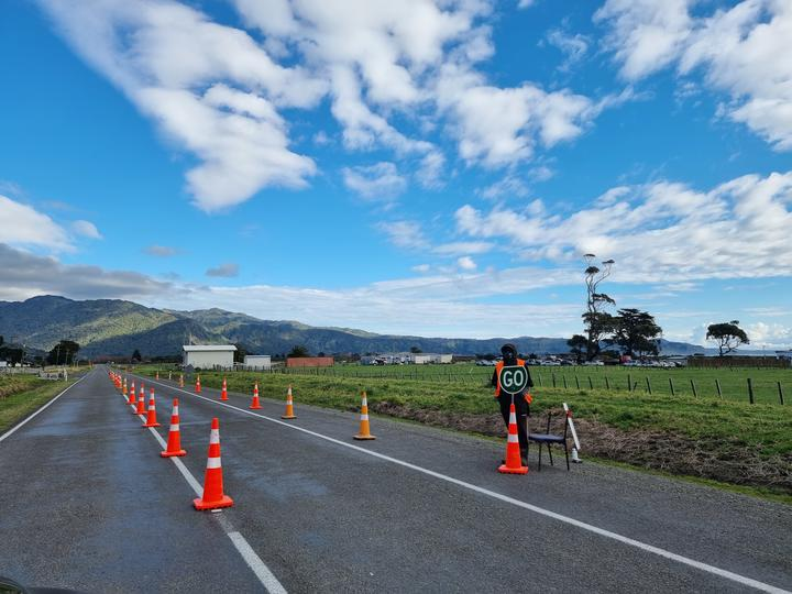 The Matakova Coved 19 Response Group opened a community checkpoint at the intersection of State Highway 35 and Porato Road yesterday morning, near Tera.