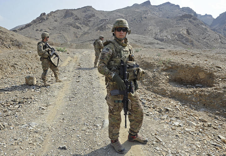 Soldiers from the US Army HHB 3-7 Field Artillery Regiment during a mission in Afghanistan near the Pakistan border in 2011.
