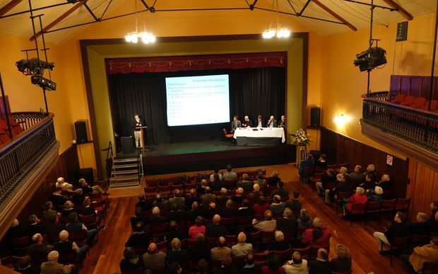 About 250 people attended the meeting on the benefits of irrigation at the Waipawa Municipal Theatre.