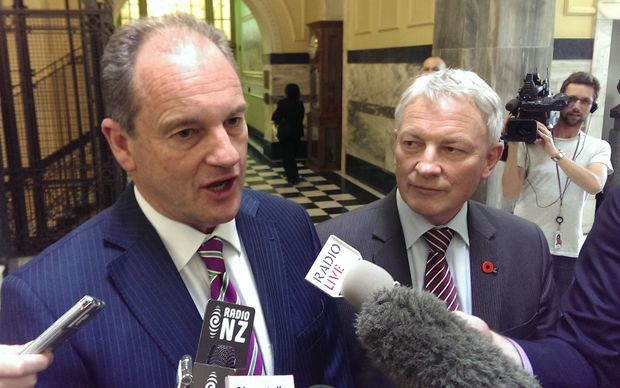Labour MPs David Shearer, left, and Phil Goff respond to Prime Minister John Key's security speech.