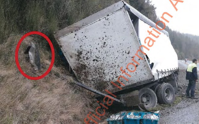 A picture of the trailer Drabium, circling in red, which collided with a truck near Morchison in August 2017