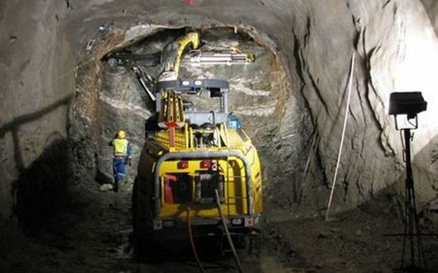 A photo from an August 2008 presentation shows construction work on the mine's tunnel before the explosion.
