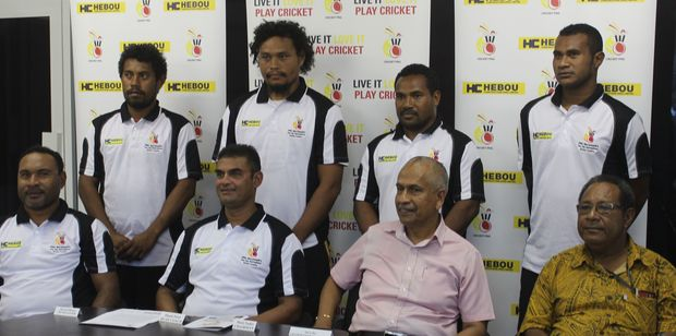 PNG cricket players and coaching staff