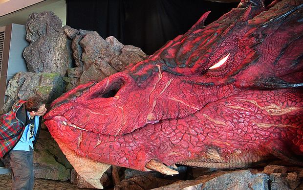 Sir Richard Taylor from Weta workshops unveils the sculpture of the dragon Smaug