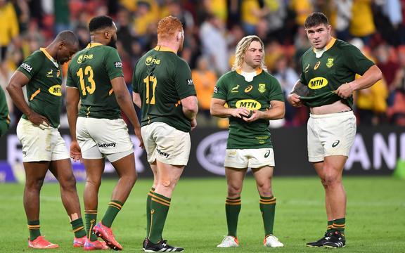 Los jugadores de los Springboks reaccionan tras perder ante Wallabies 2021.