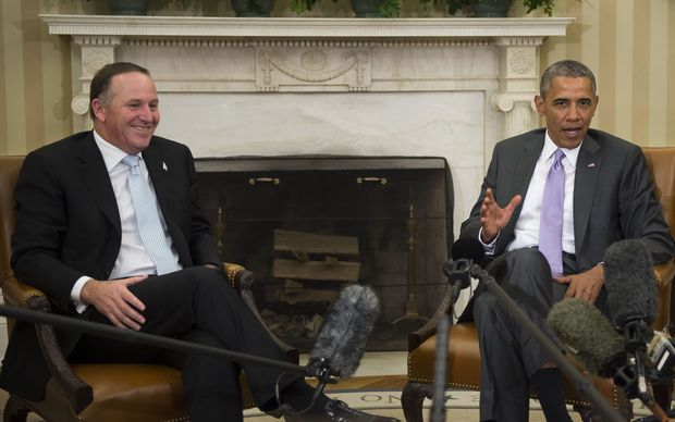 John Key with US President Barack Obama earlier this year. The US is leading an alliance against Islamic State.