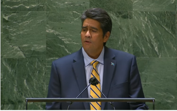 Palau's President Surangel Whipps Jr. speaks at the 76th session of the UN General Assembly