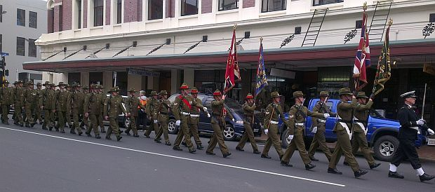 Troops in WW! uniform march during commemorations in Dunedin