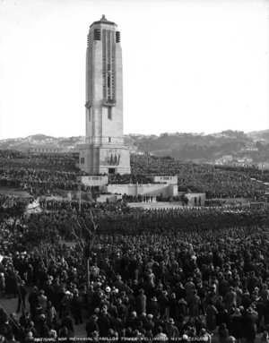 The dedication of the Carillon National War Memorial in Wellington on Anzac Day in 1932.