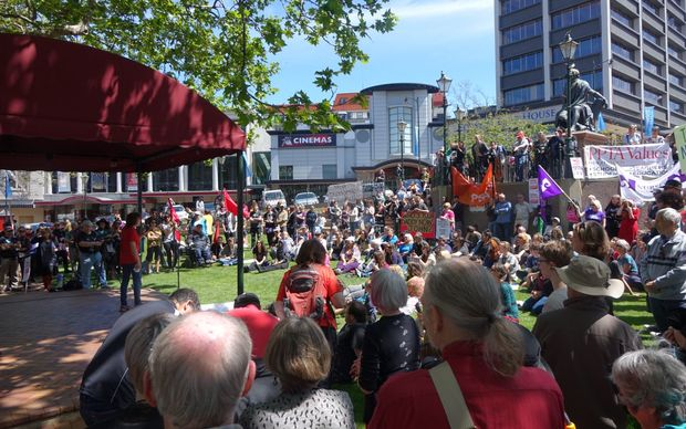 About 400 people attended the rally against the TPPA in Dunedin.
