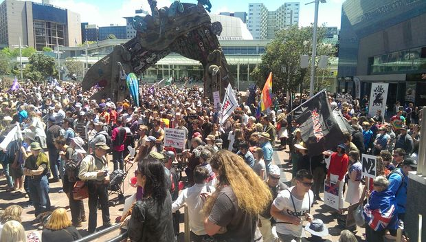 More than 1000 people marched from Aotea Square to the US Consulate in Auckland.