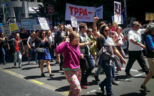 About 1000 people marched against the TPPA in Auckland on 8 November 2014.