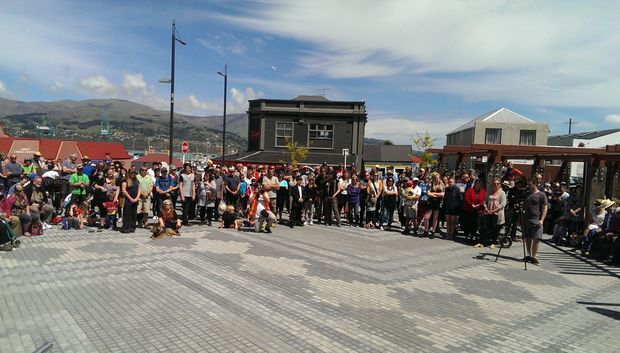 Hundreds turned out on Saturday to see the square officially opened.