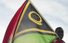 Vanuatu flag displayed during Paralympic ceremony