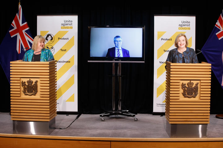 Housing Minister Megan Woods, left, Environment Minister David Parker, on screen, and National Chief Judith Collins.  The parties worked together on a bill amending the Resource Management Act to facilitate the construction of houses.