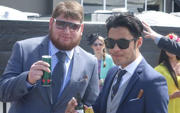 Punters enjoying a drink at Cup Day.