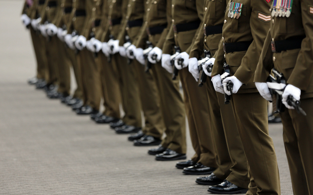 NZDF soldiers outside Parliament buildings in Wellington on Armistice Day.