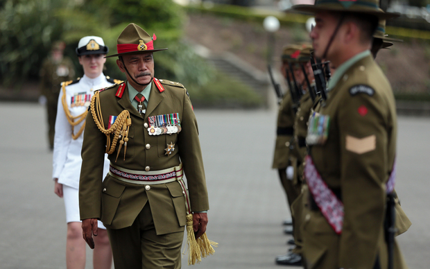 Governor-General Sir Jerry Mateparae inspects a guard of honour outside Parliament today.
