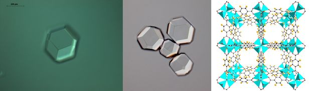 Microscope images and a diagram of the inside of a metal-organic framework