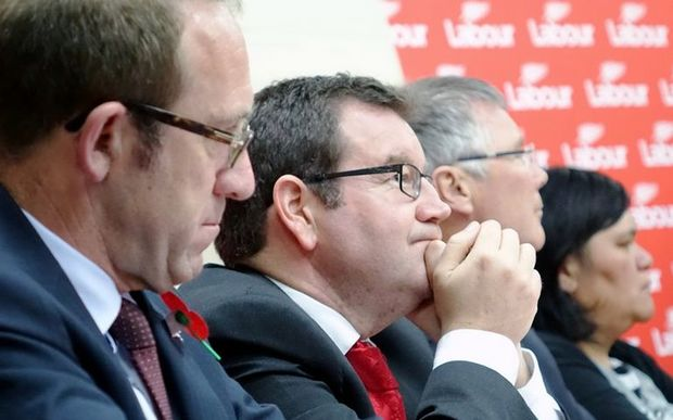 Labour leadership rivals (from left) Andrew Little,Grant Robertson, David Parker and Nanaia Mahuta at the last meeting, in South Auckland, on Tuesday.