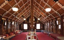 The intricate and rich interior of Kauhuranaki marae.