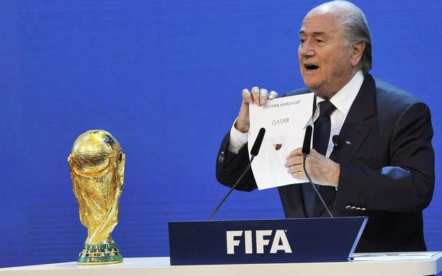 Fifa's Sepp Blatter announes Qatar will host the 2022 World Cup.