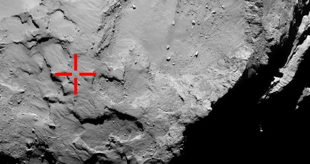 This image marks the first touchdown point of the lander - before it bounced twice, settling in the shadow of a large cliff.