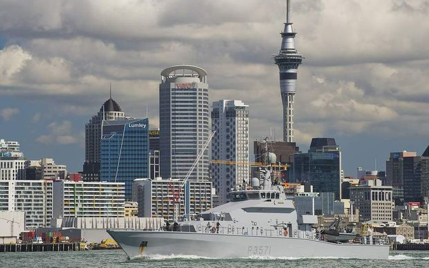 HMNZS Hawea sailing out from Devonport Naval base
