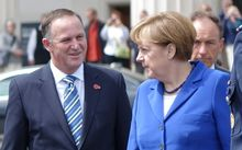 Prime Minister John Key and German Chancellor Angela Merkel in Auckland.