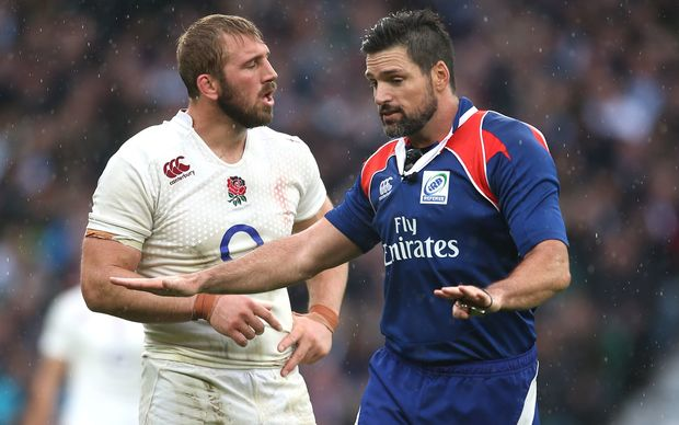 England captain Chris Robshaw in discussion with New Zealand referee Steve Walsh