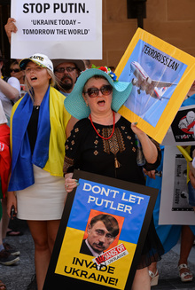 A protest against Russia's actions in Ukraine was held in Brisbane.